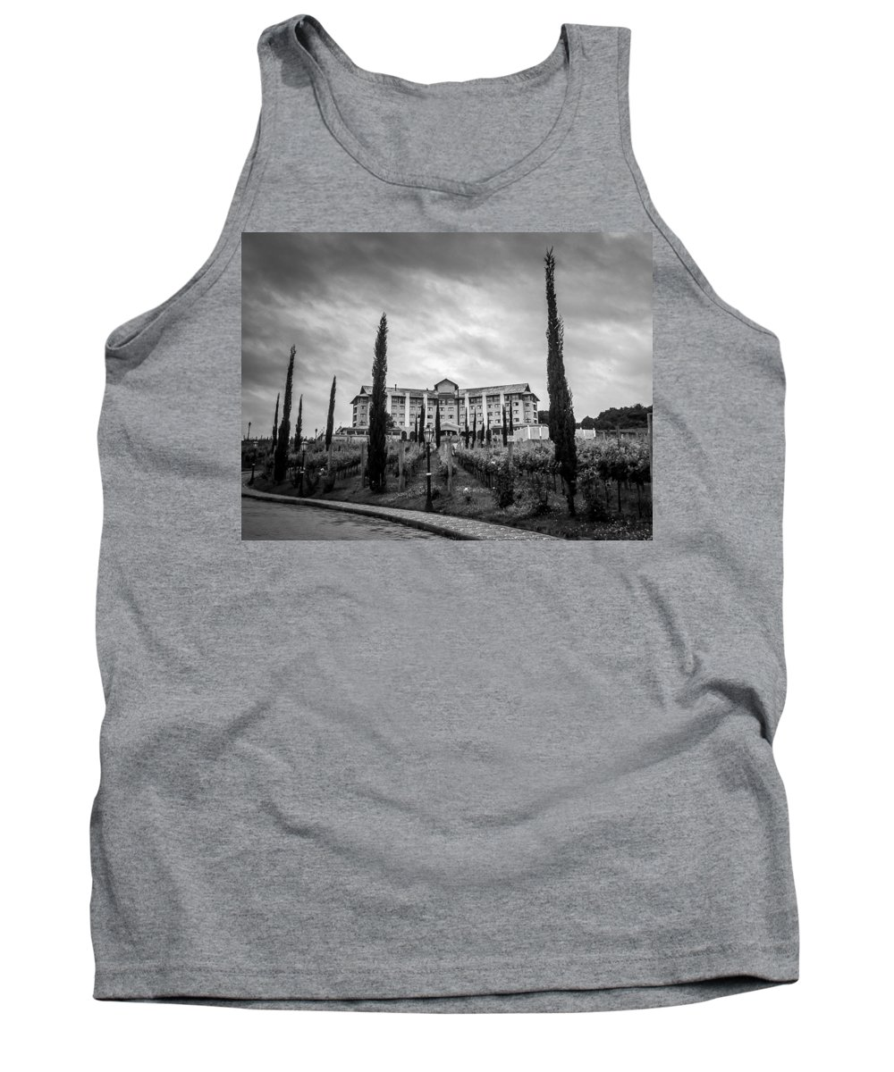 Vineyards Tank Top featuring the photograph Vineyards And Chateau-bw by Fabio Giannini
