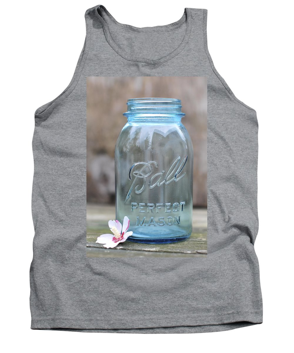 Vintage Ball Mason Blue Tank Top featuring the photograph Vintage Ball Mason Blue by Terry DeLuco