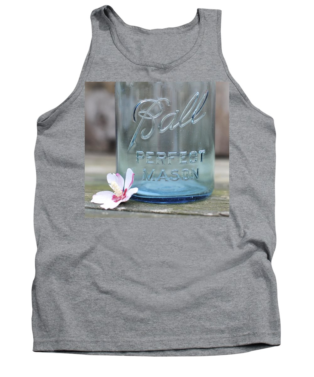 Vintage Ball Perfect Mason Blue Tank Top featuring the photograph Vintage Ball Perfect Mason Blue by Terry DeLuco