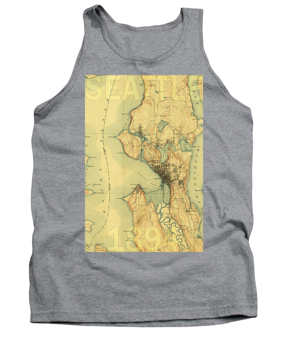 Seattle Tank Top featuring the photograph Vintage Seattle Map by Andrew Fare