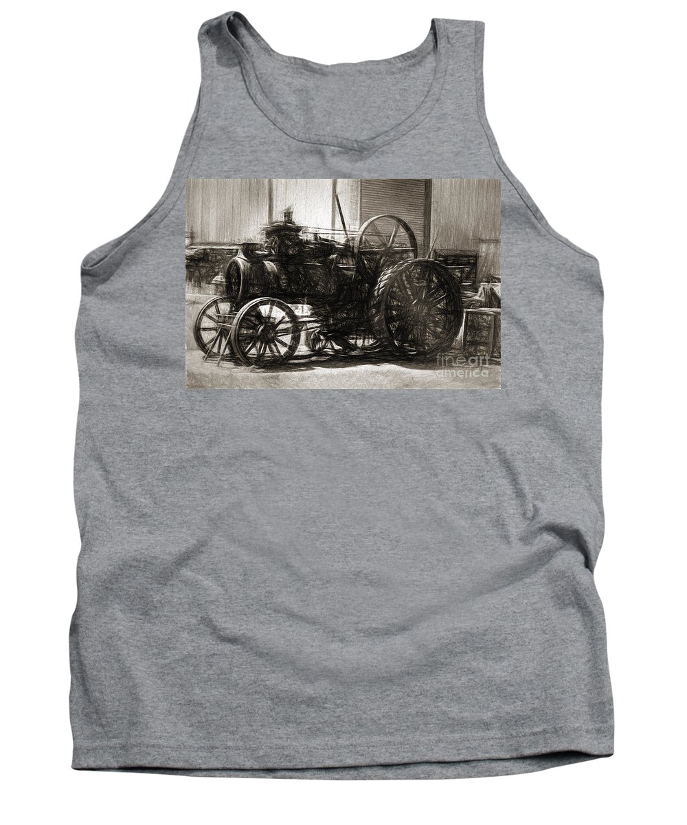 Vintage Tank Top featuring the photograph Vintage Tractor Drawing In Industrialised 1900s by Jorgo Photography - Wall Art Gallery