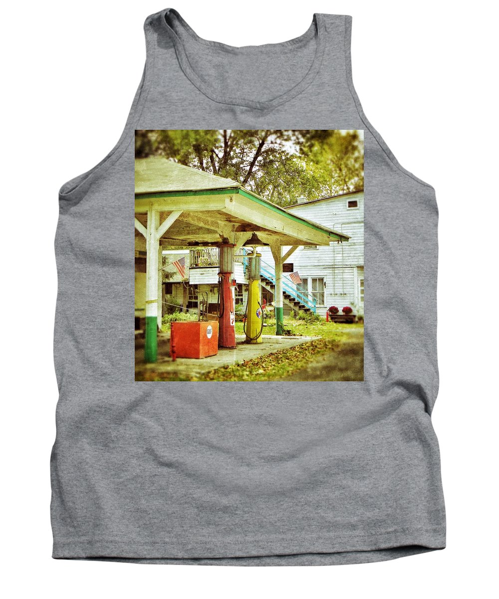 Visible Gas Pumps Tank Top featuring the photograph Visible Gas Pumps by Jean Goodwin Brooks