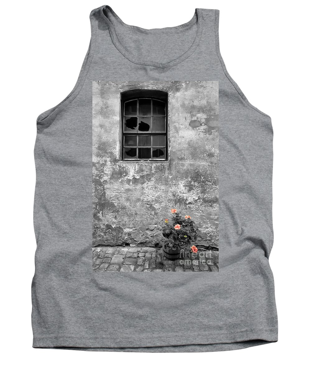 Building Tank Top featuring the photograph Window And Flowers by Mike Nellums