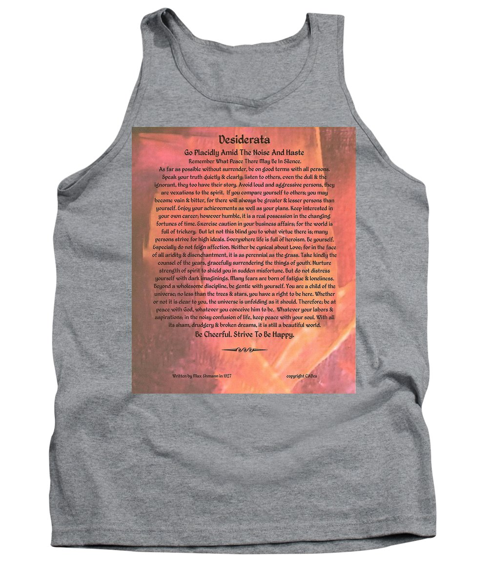 Desiderata Tank Top featuring the painting Watercolor Desiderata On Fuchsia Strokes by Desiderata Gallery