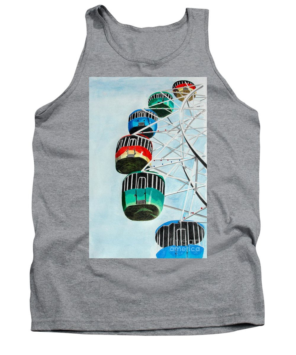 Pencil Tank Top featuring the drawing Way Up In The Sky by Glenda Zuckerman