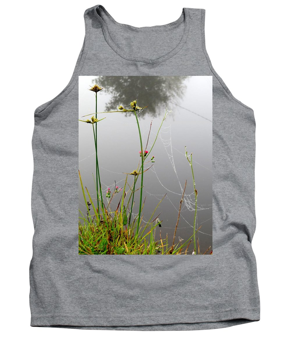 Floral Tank Top featuring the photograph Web Of Pearls by Zina Stromberg