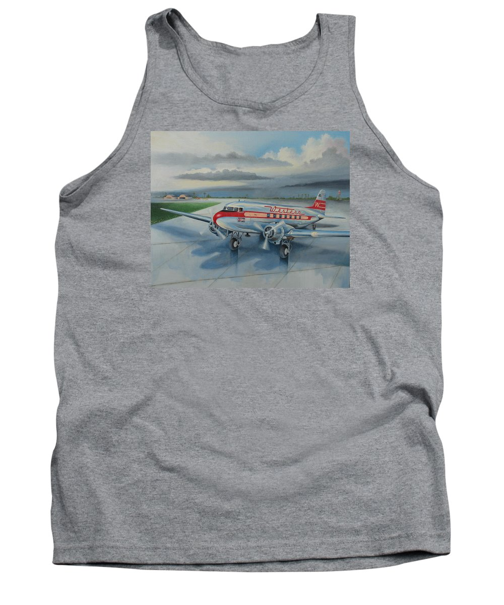 Airplane Tank Top featuring the painting Western Airlines Dc-3 by Stuart Swartz