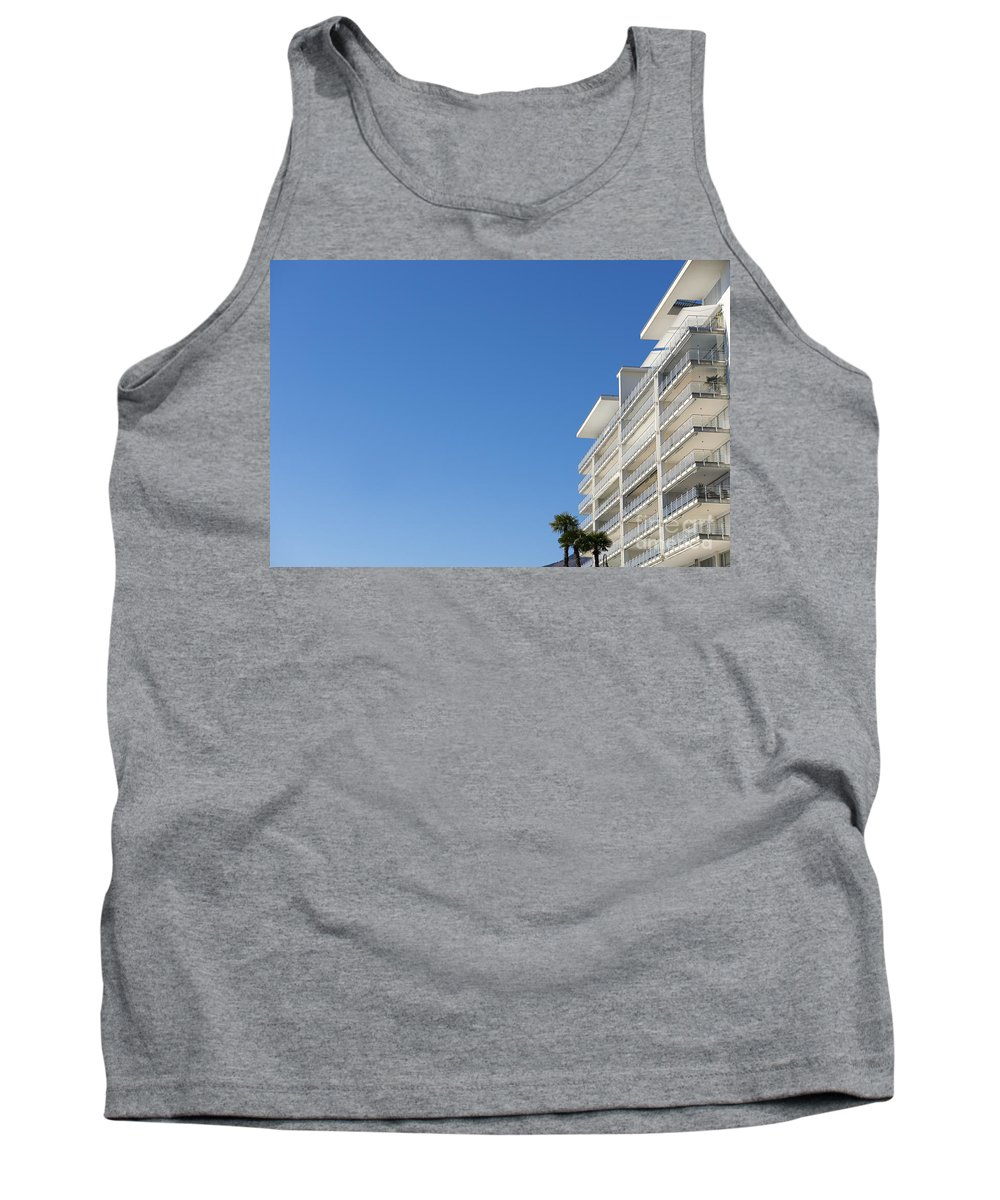Building Tank Top featuring the photograph White Building And Palm Trees by Mats Silvan