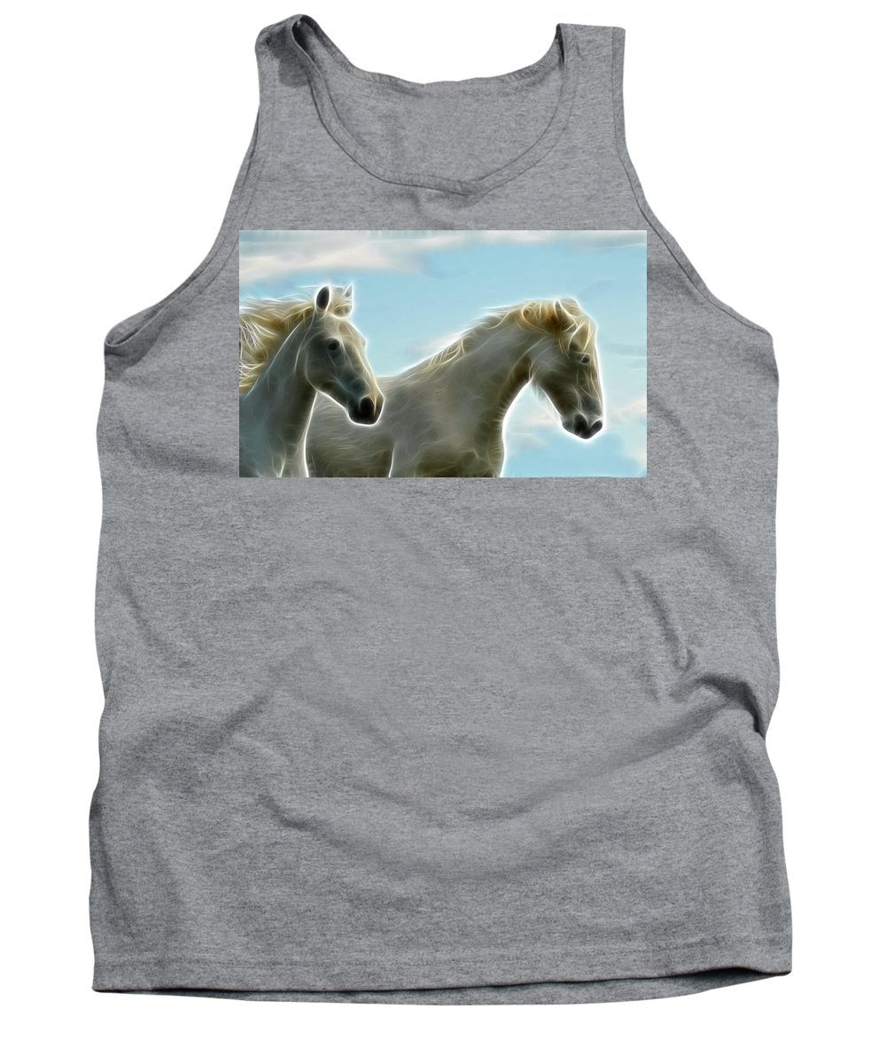 Horse Art Tank Top featuring the photograph White Stallions by Steve McKinzie