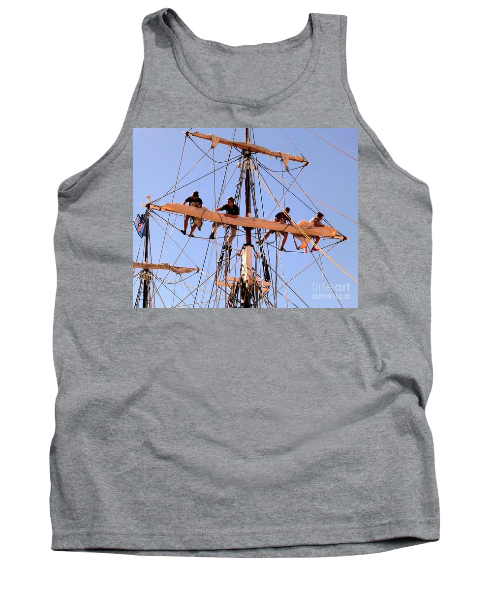 Tall Ship Tank Top featuring the photograph Who Was That Mast Man by Barbie Corbett-Newmin