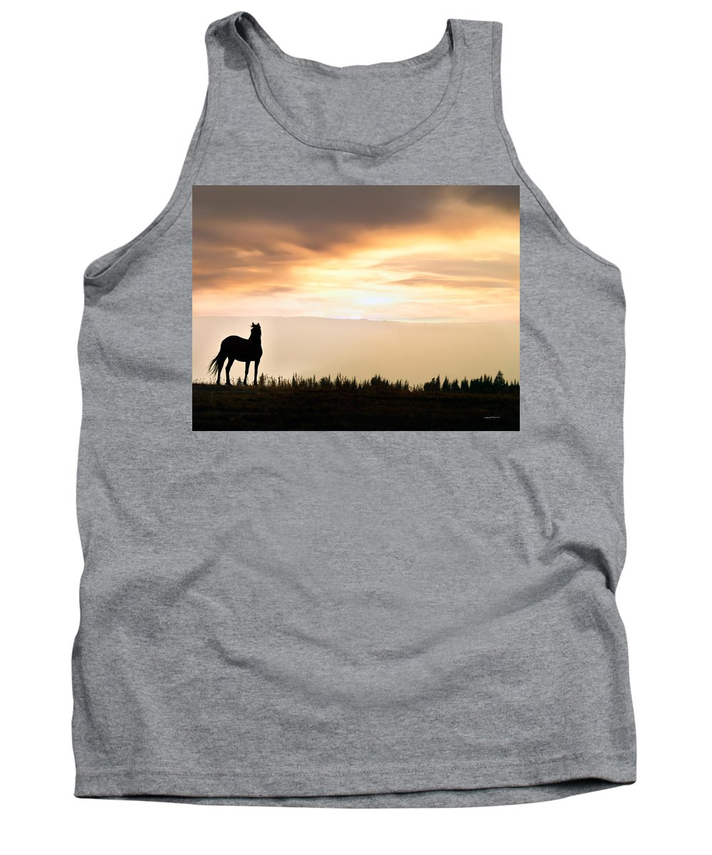 Animals Tank Top featuring the photograph Wild Horse Sunset by Leland D Howard