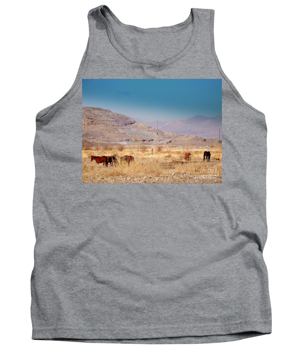 Acrylic Prints Tank Top featuring the photograph Wild Nevada Mustang Herd by Bobbee Rickard