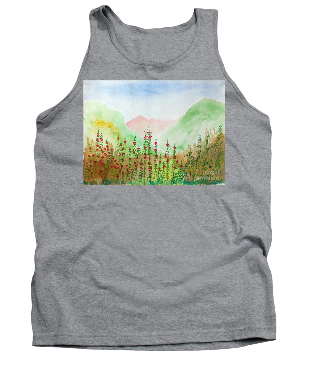 Watercolor Tank Top featuring the painting Wildflowers by Walt Brodis