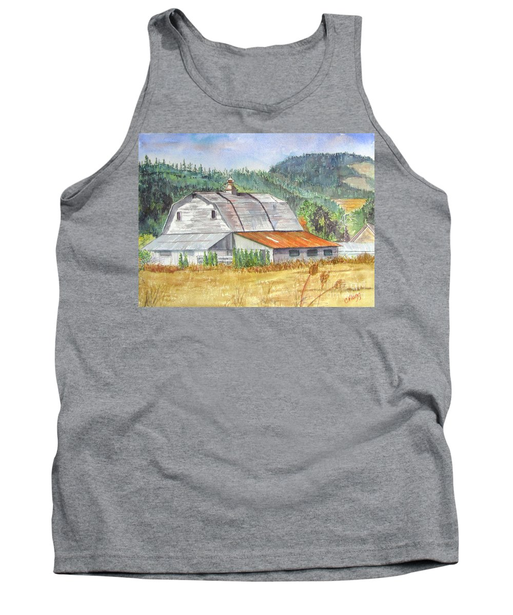 Willamette Valley Tank Top featuring the painting Willamette Valley Barn by Carol Flagg