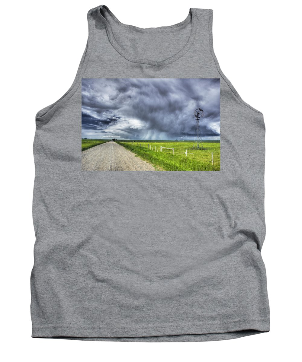 Tank Top featuring the photograph Windmill And Country Road With Storm by First Light