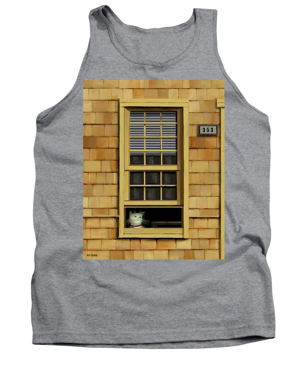 Diane Strain Tank Top featuring the painting Window Cat  No.1 by Diane Strain