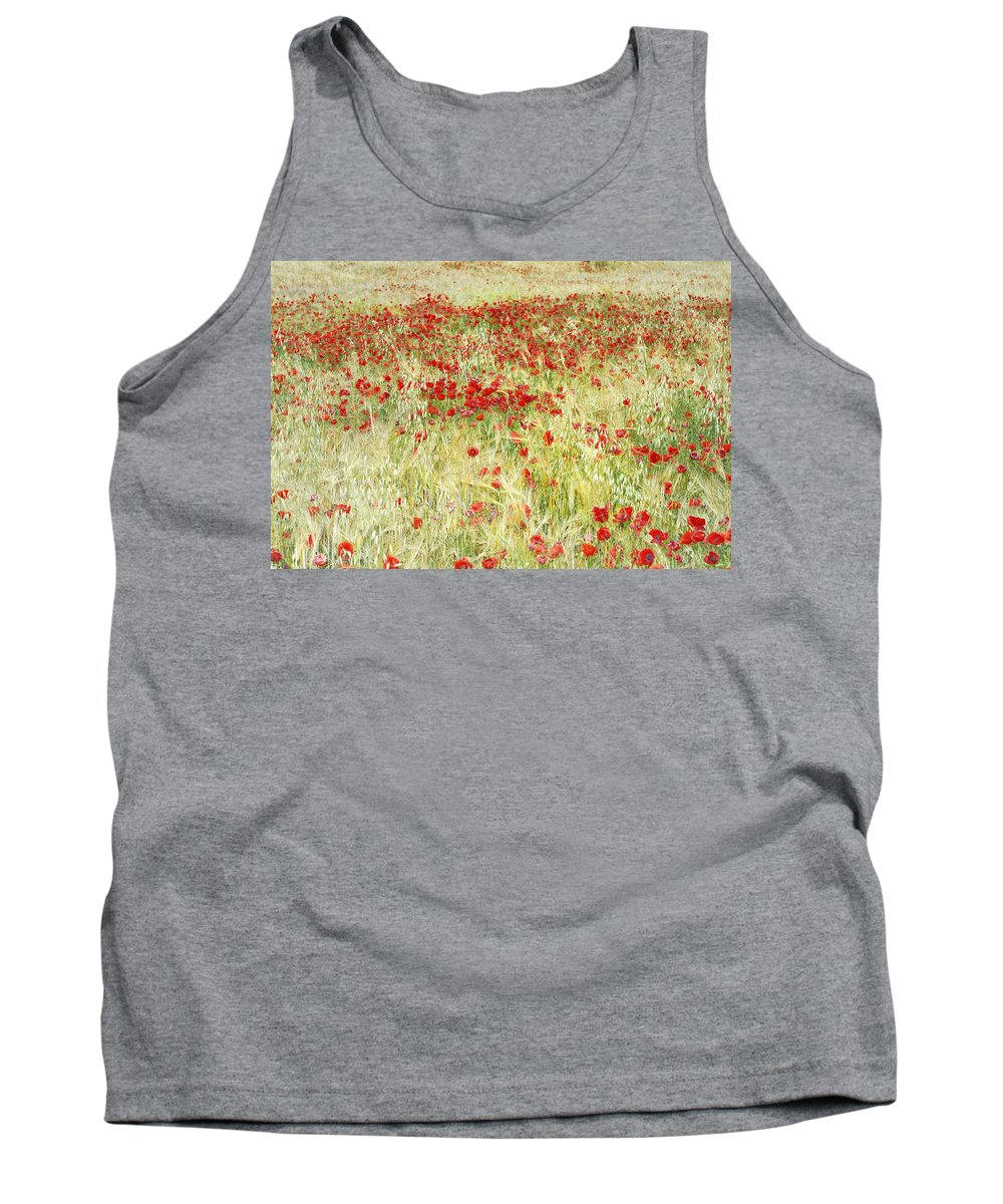 Poppies Tank Top featuring the photograph Windy Poppies At The Fields by Guido Montanes Castillo