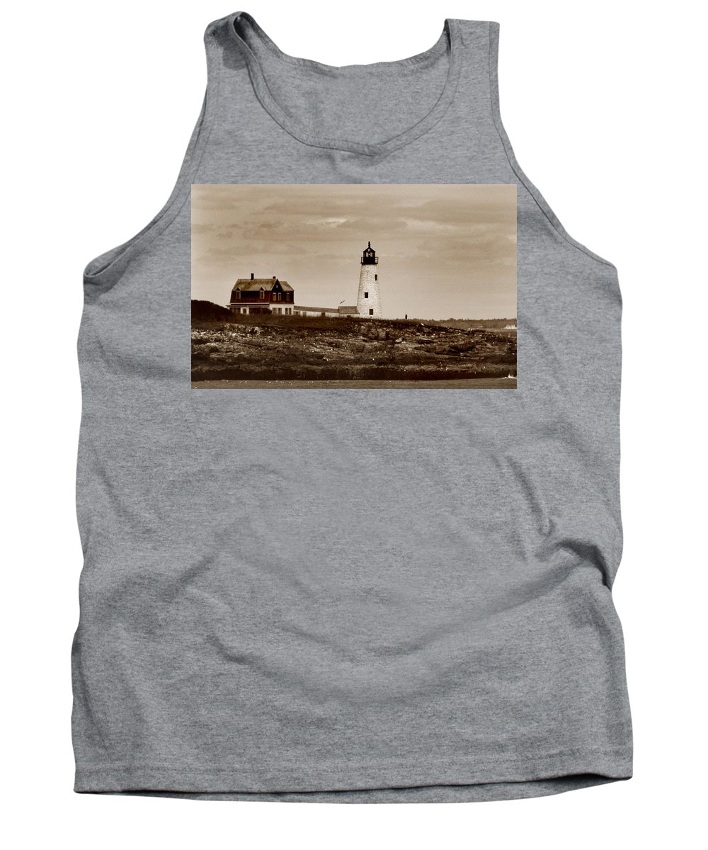 Wood Island Tank Top featuring the photograph Wood Island Lighthouse by Skip Willits