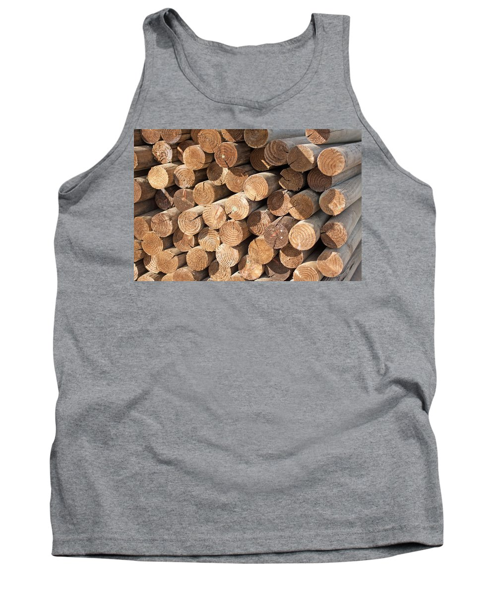 Background Tank Top featuring the photograph Wood Logs by Gunter Nezhoda