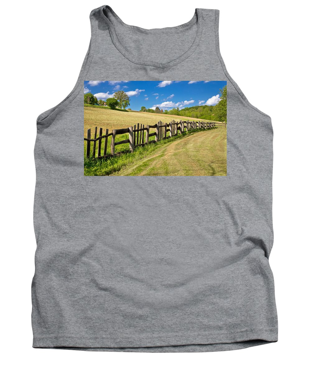 Color Tank Top featuring the photograph Wooden Fence In Green Landscape by Brch Photography
