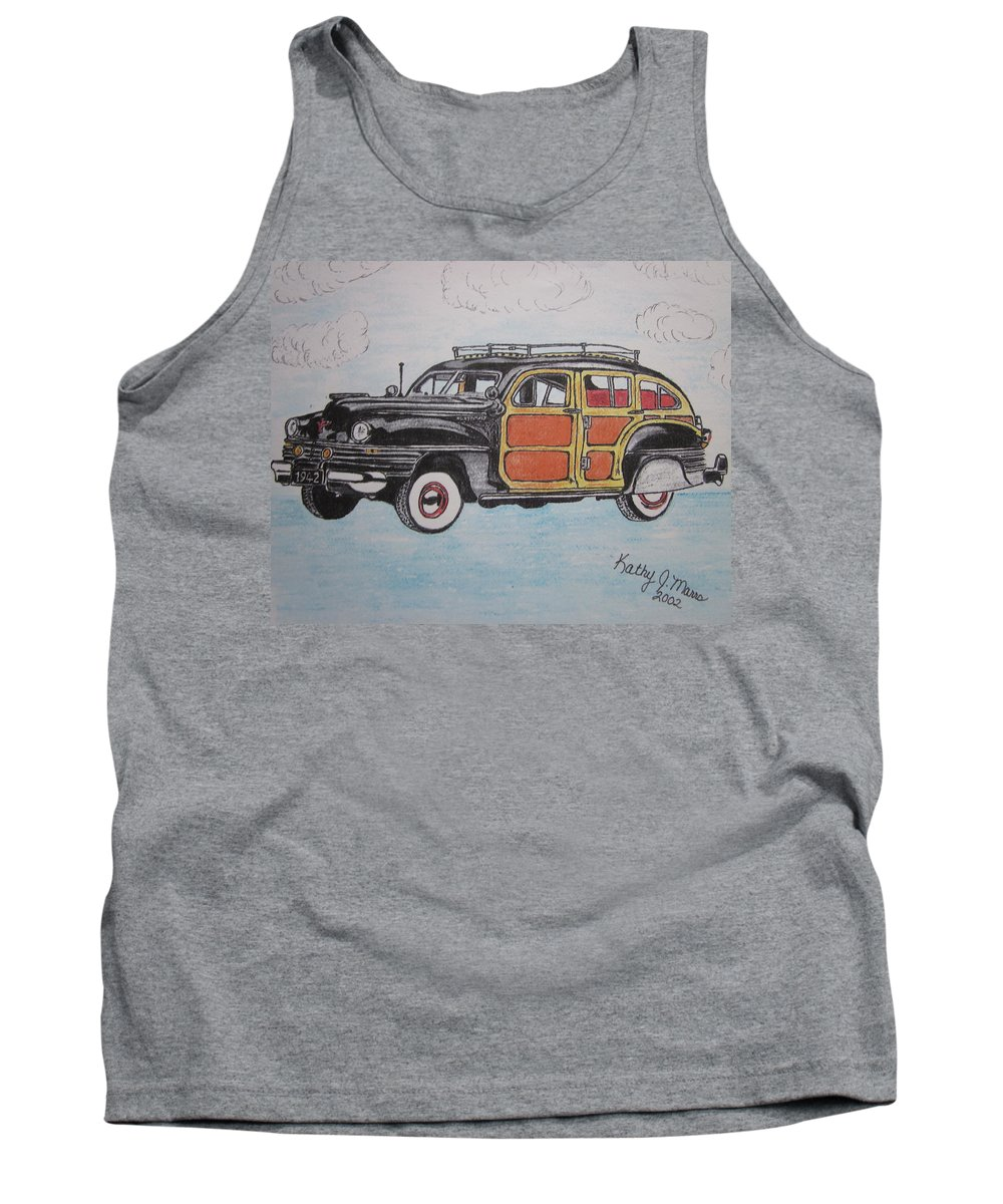 Woodie Tank Top featuring the painting Woodie Station Wagon by Kathy Marrs Chandler