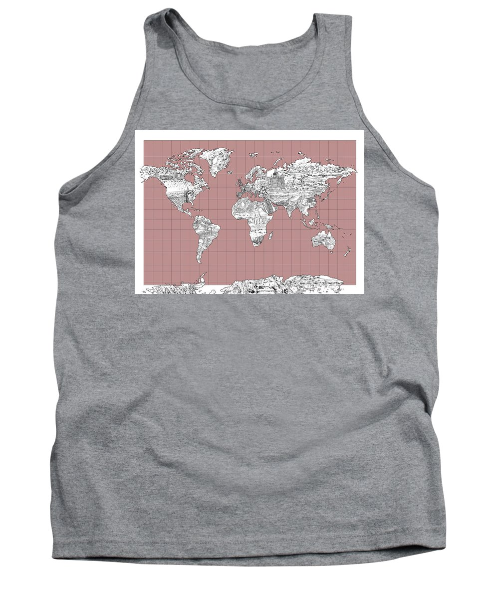 Map Of The World Tank Top featuring the painting World Map Landmark Collage 2 by Bekim Art