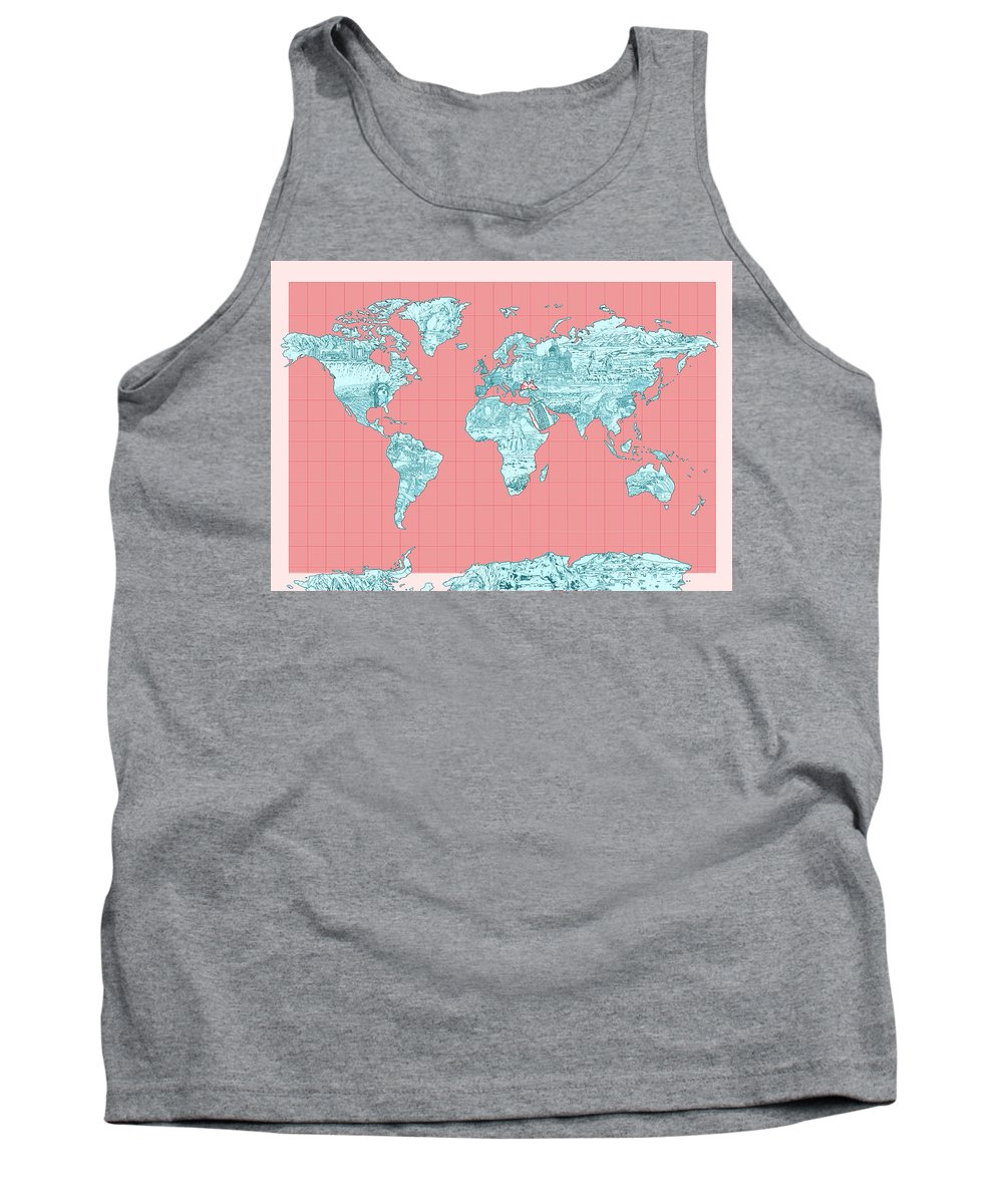 Map Of The World Tank Top featuring the painting World Map Landmark Collage by Bekim Art