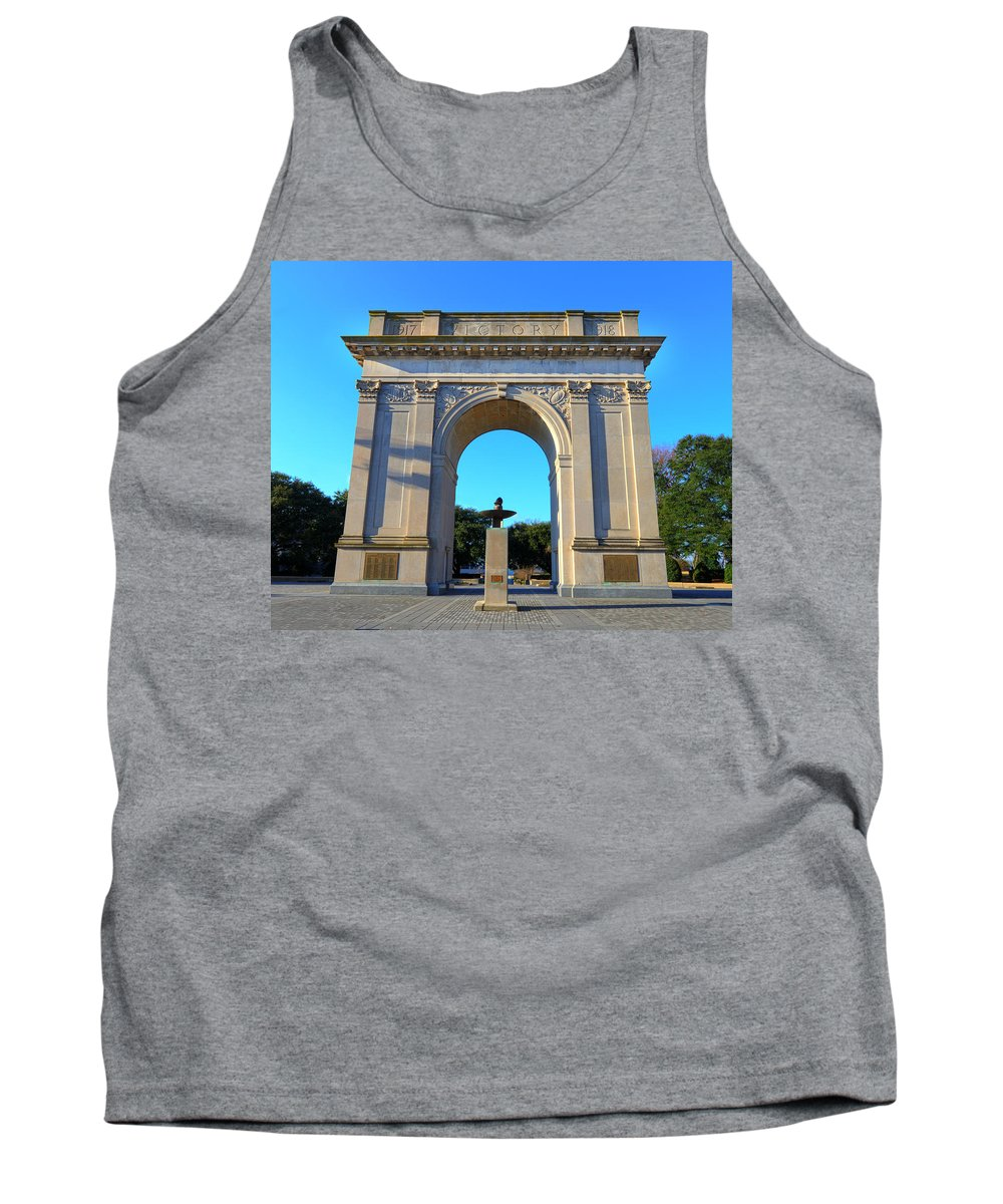 Victory Arch Tank Top featuring the photograph World War I Victory Arch Newport News by Greg Hager