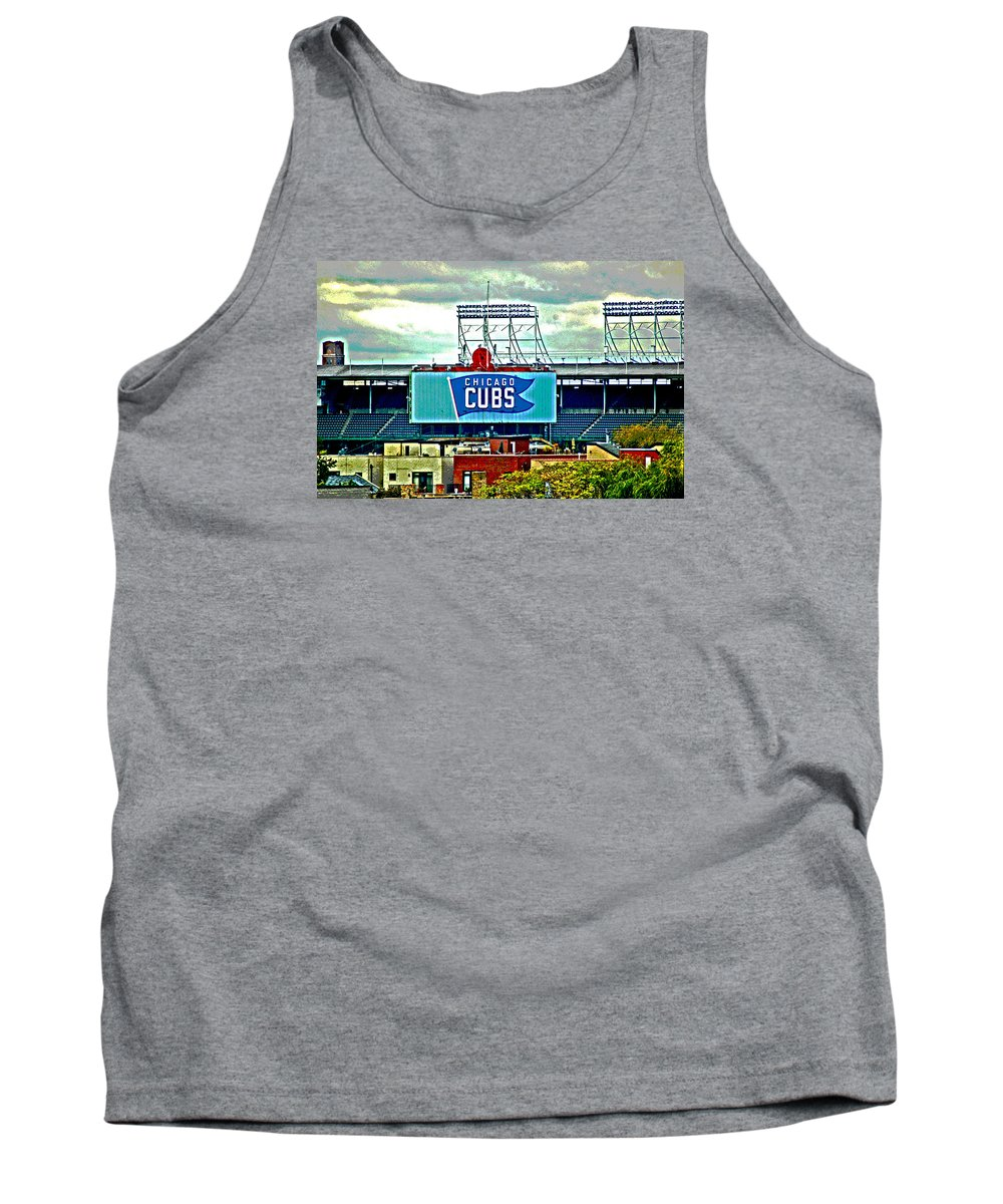 Chicago Tank Top featuring the digital art Wrigley Field Chicago Cubs by Ginger Wakem