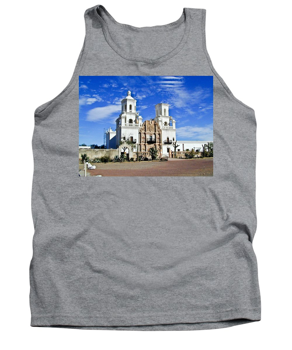 Mission San Xavier Del Bac Tank Top featuring the photograph Xavier Tucson Arizona by Douglas Barnett
