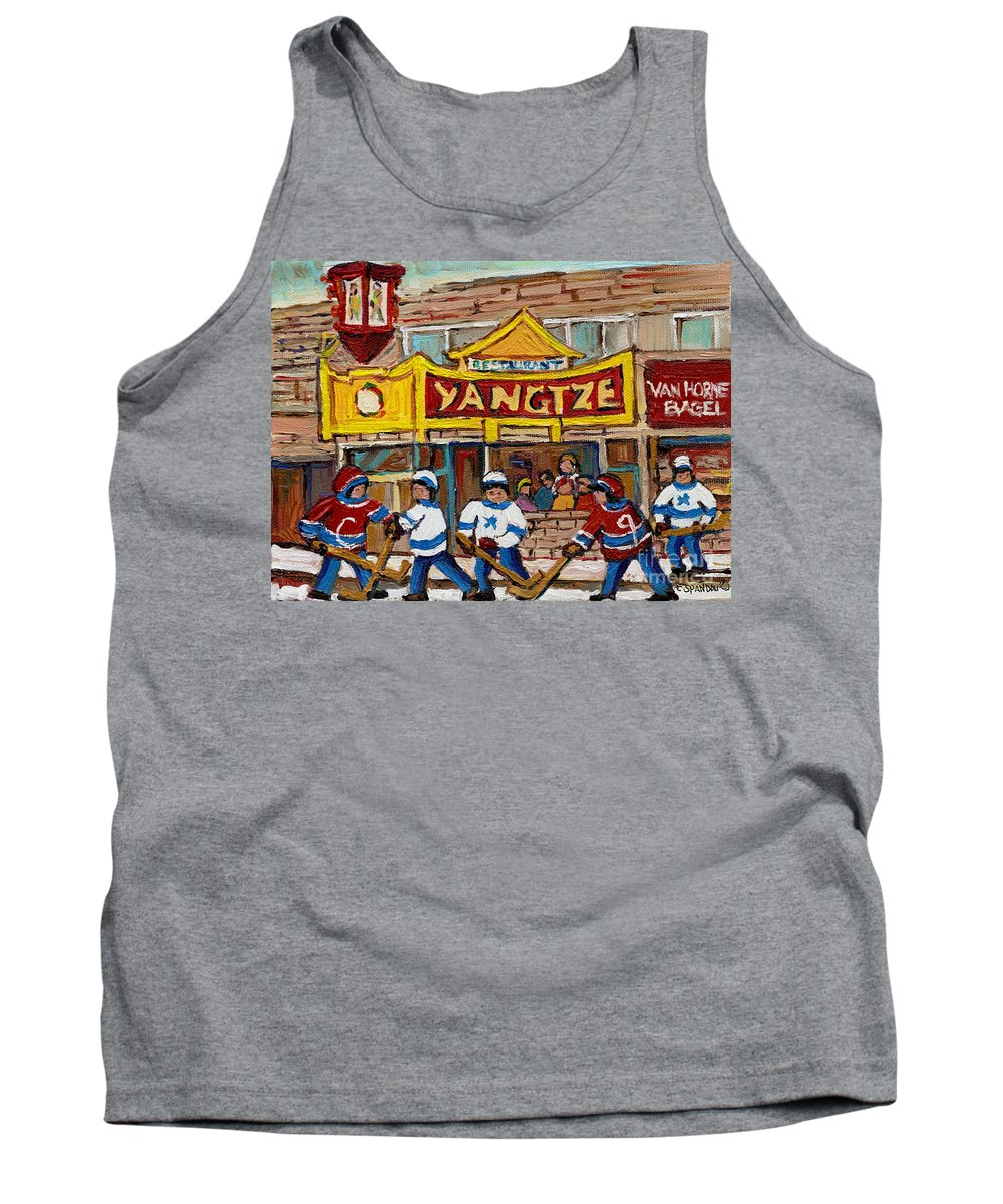 Montreal Tank Top featuring the painting Yangtze Restaurant With Van Horne Bagel And Hockey by Carole Spandau