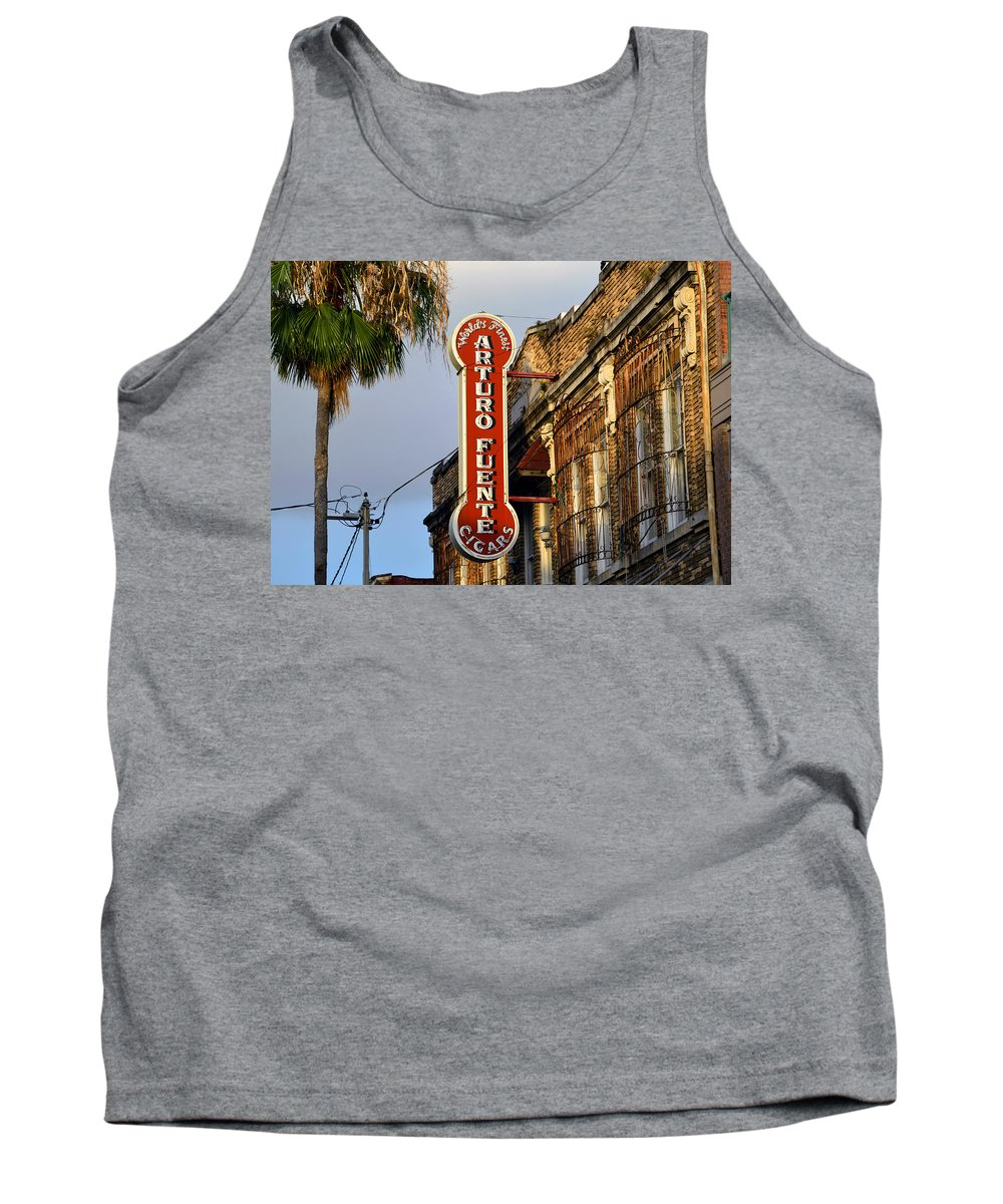 Ybor City Florida Tank Top featuring the photograph Ybor City Cigar Sign Color Work One by David Lee Thompson