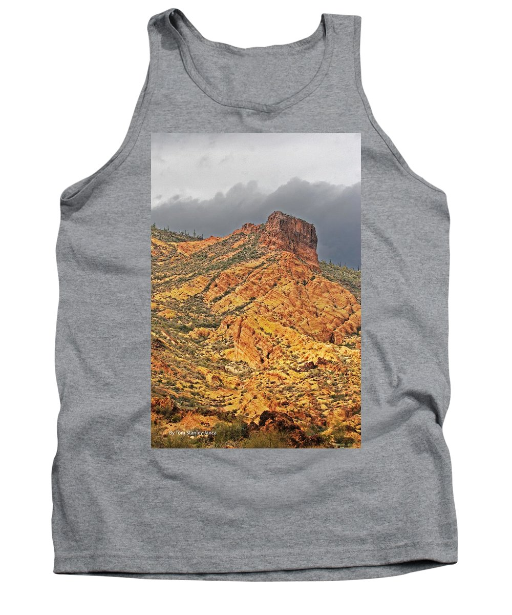 Yellow Colored Rock Along The Apache Trail Tank Top featuring the photograph Yellow Colored Rock Along The Apache Trail by Tom Janca