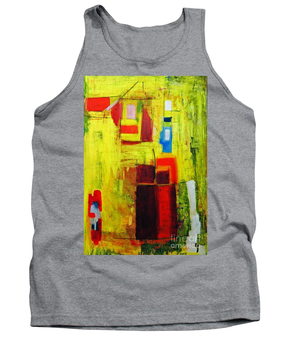 Abstract Painting Tank Top featuring the painting Yellow by Jeff Barrett