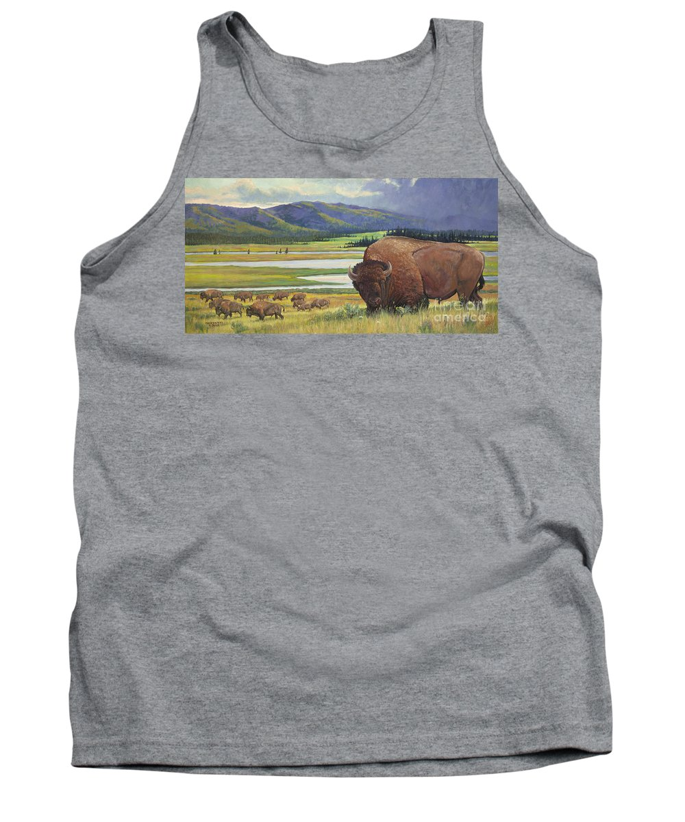 Western Buffalo Tank Top featuring the painting Yellowstone Bison by Rob Corsetti