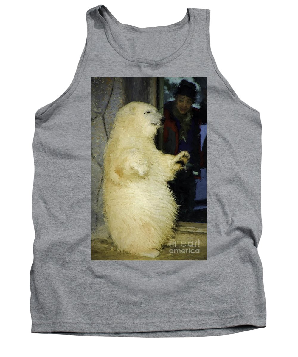Polar Tank Top featuring the photograph Young Polar Bear And Boy by Les Palenik