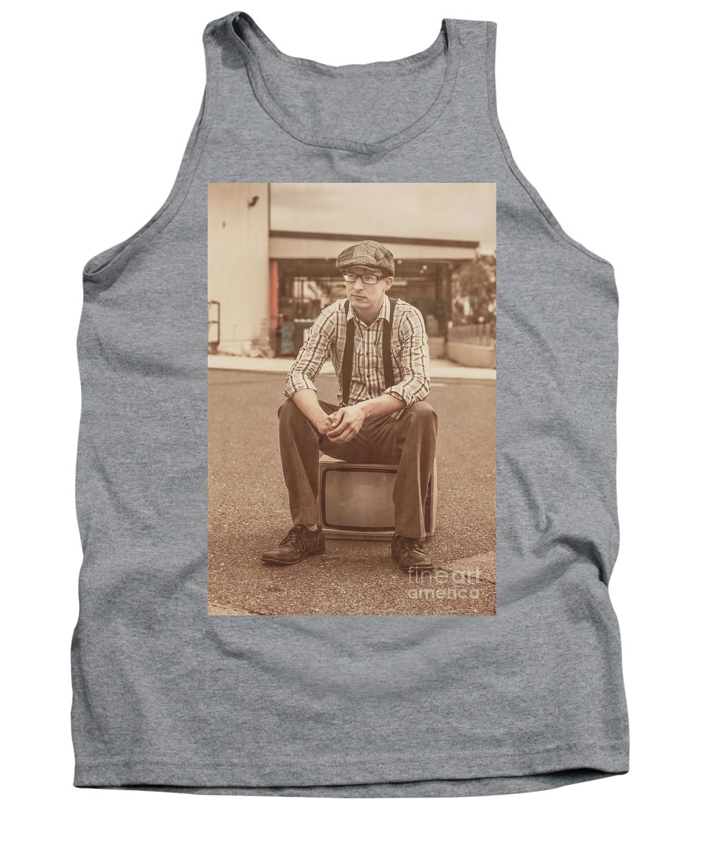 Amusement Tank Top featuring the photograph Young Vintage Man Seated On Old Tv by Jorgo Photography - Wall Art Gallery