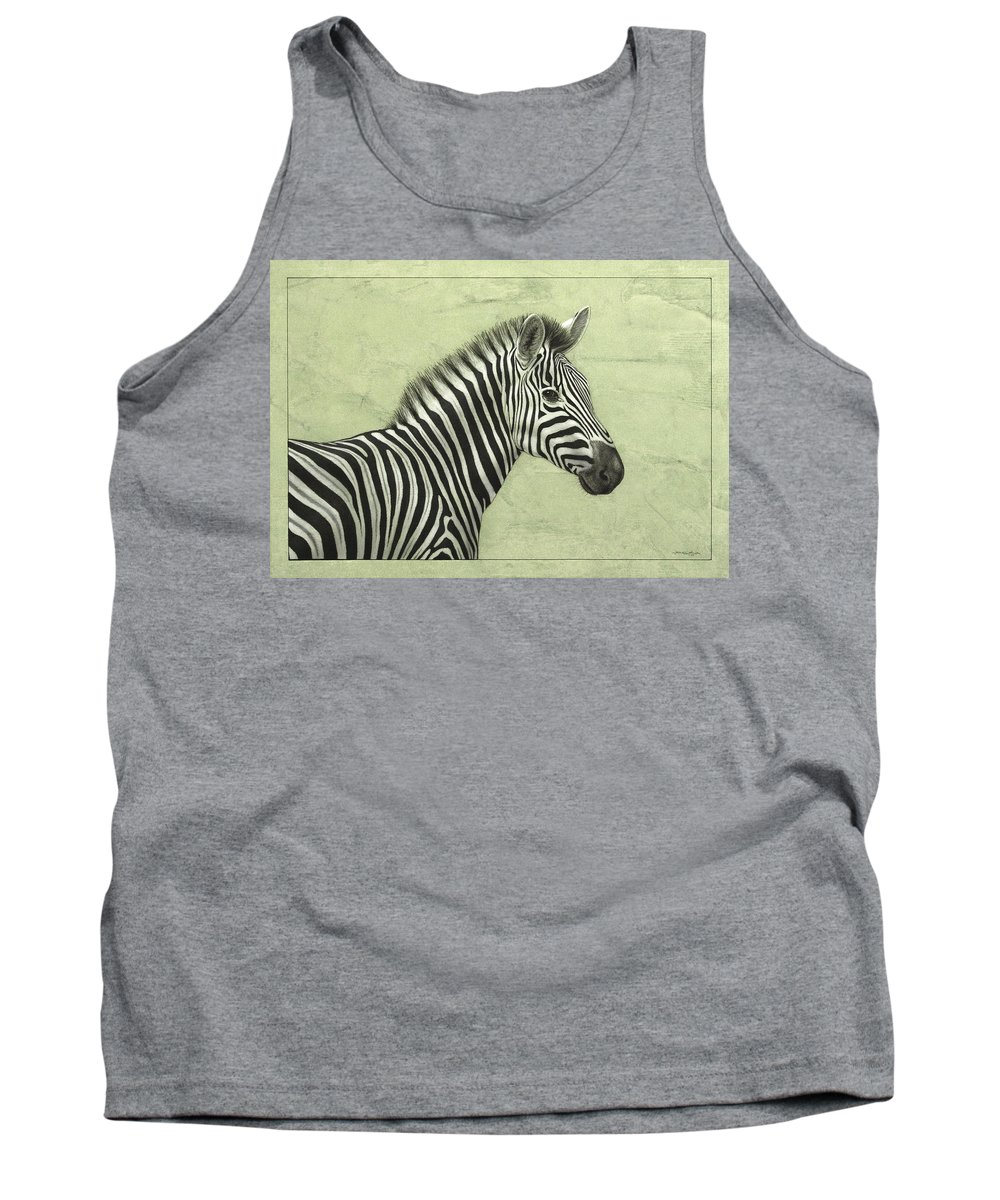 Zebra Tank Top featuring the painting Zebra by James W Johnson