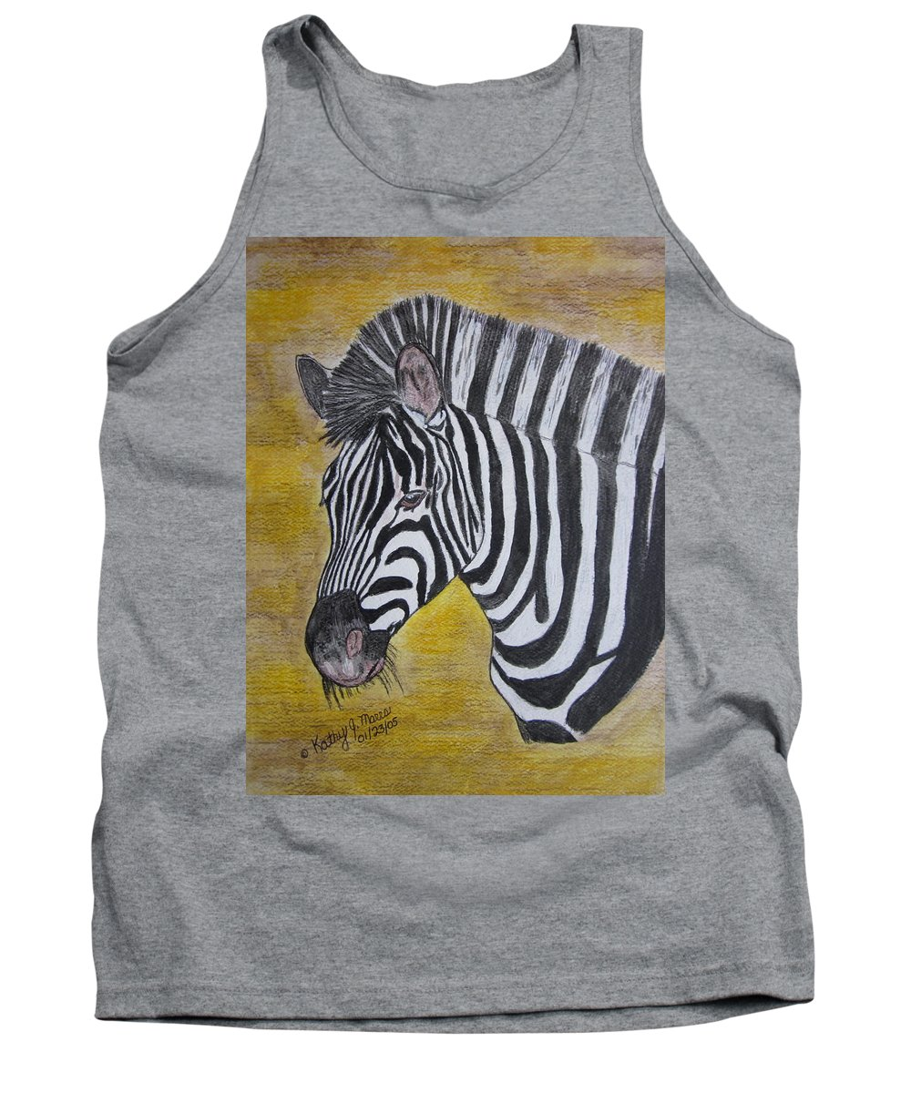 Zebra Tank Top featuring the painting Zebra Portrait by Kathy Marrs Chandler