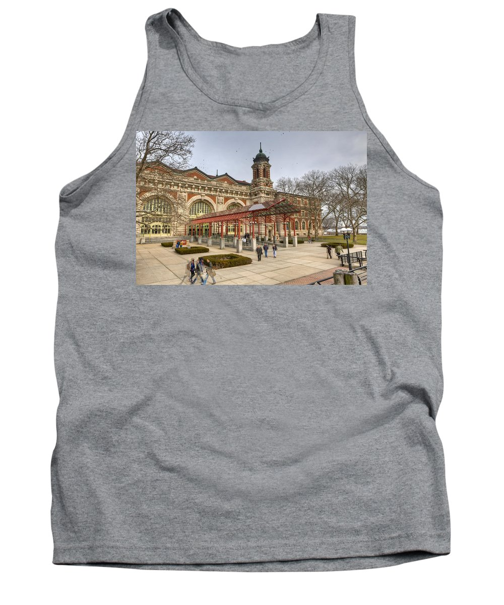 Landscape Tank Top featuring the photograph The Ellis Island Immigration Museum by Jiayin Ma