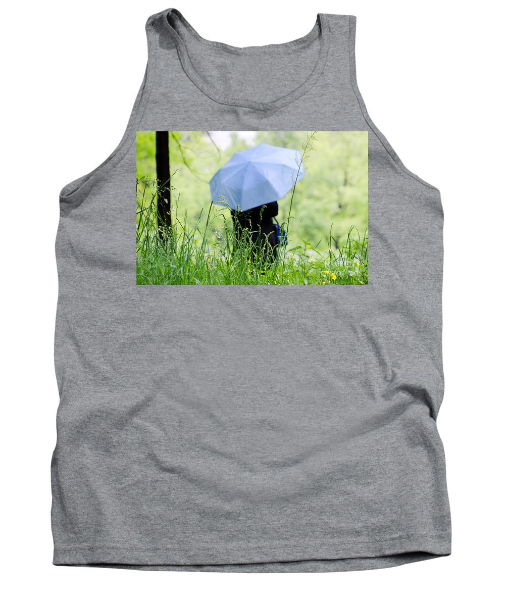 Woman Tank Top featuring the photograph Blue Umbrella by Mats Silvan