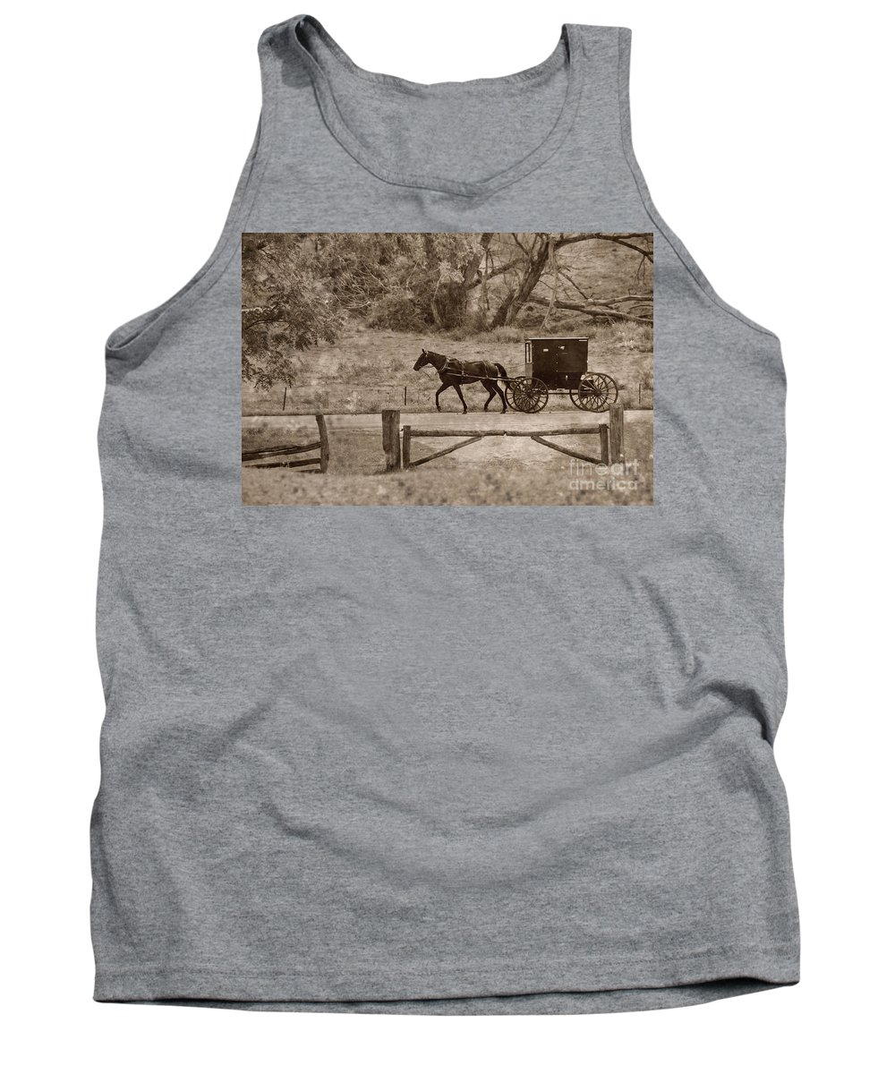 Amish Tank Top featuring the photograph Buggy by David Arment
