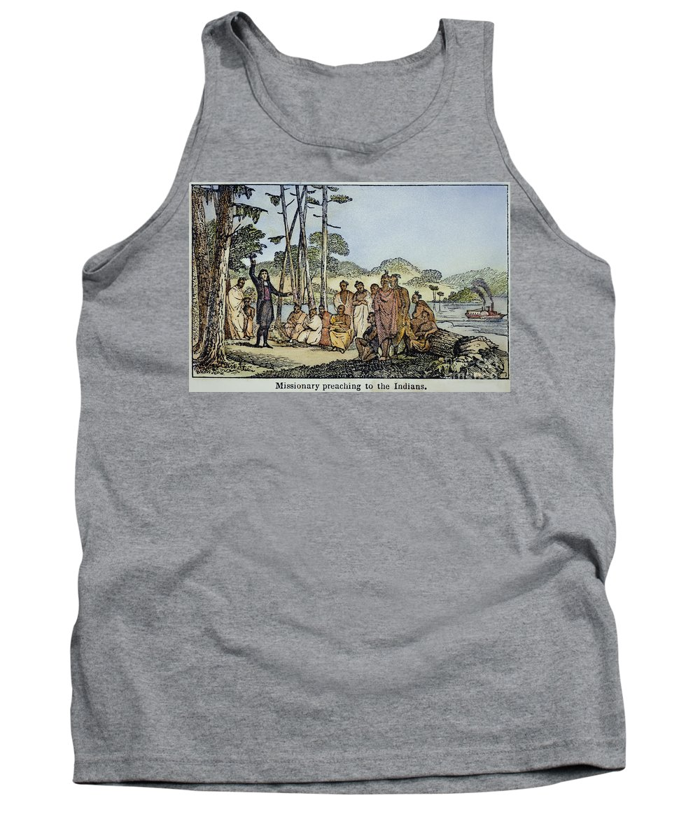 1850s Tank Top featuring the photograph Missionary And Native Americans by Granger