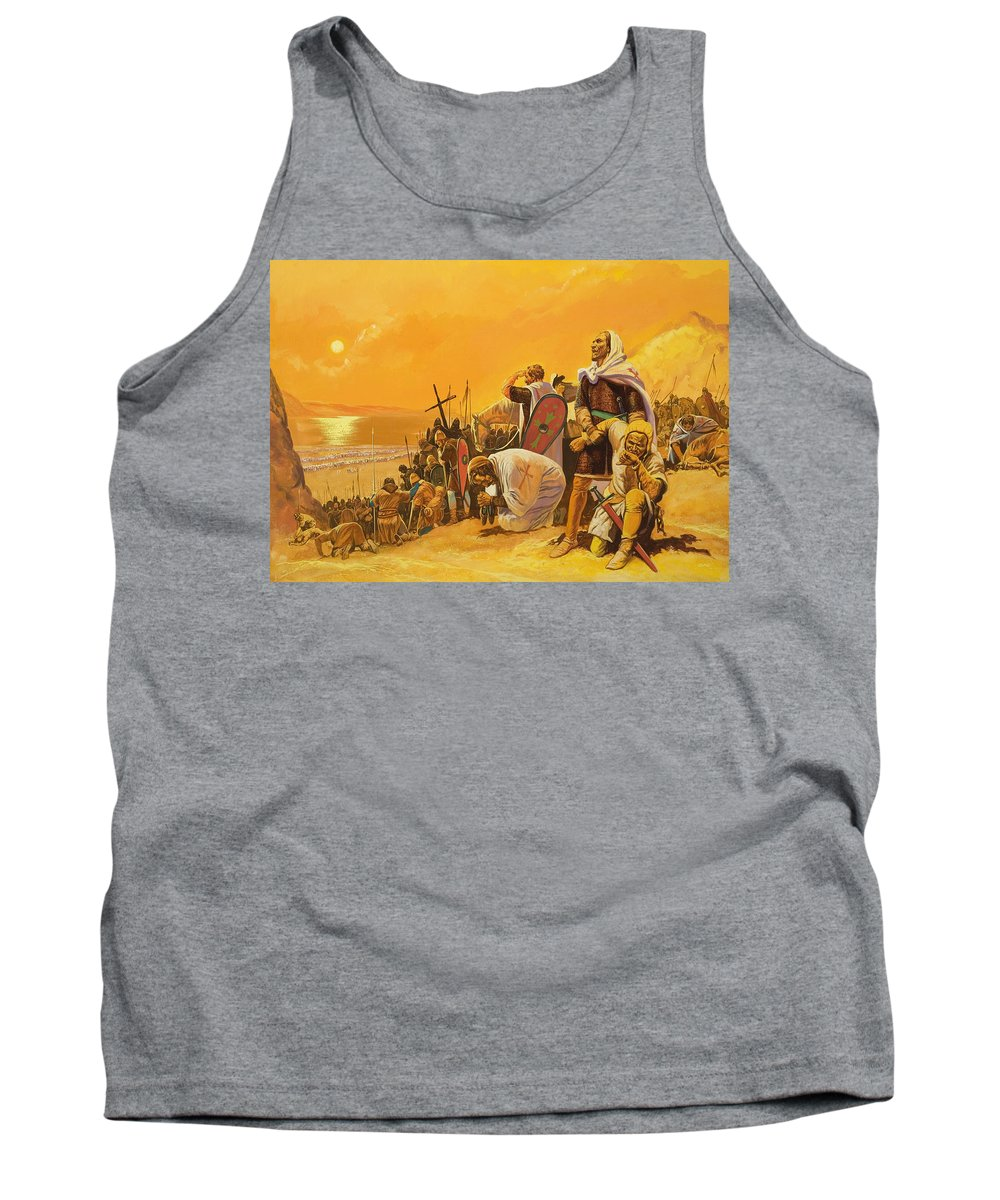 Orange; Soldier; Middle East; Heat; Sun; Cross; Christianity; Christendom; Suffering; Exhaustion; Water; Land; Desert; Shield; Armour; C11th; Croisades; Holy War; Arid; Parched; Harsh Conditions; Male; Children's Illustration Tank Top featuring the painting The Crusades by Gerry Embleton