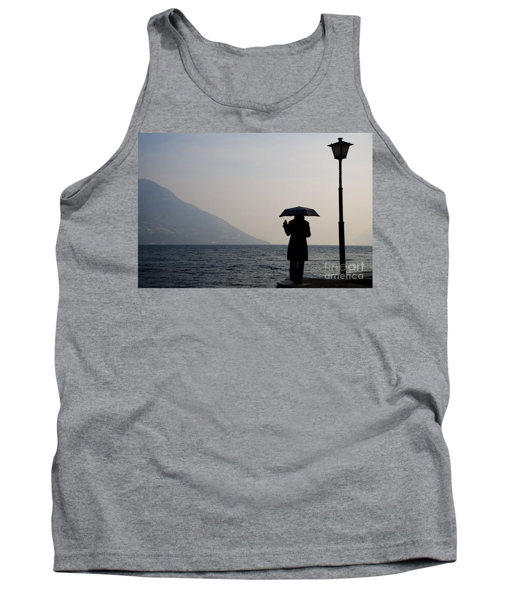 Woman Tank Top featuring the photograph Woman With An Umbrella by Mats Silvan