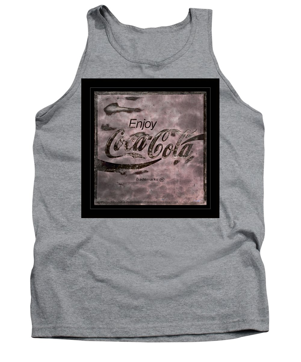 Coca Cola Tank Top featuring the photograph Coca Cola Sign Grungy Retro Style by John Stephens