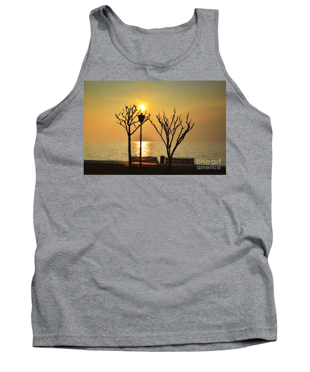 Tree Tank Top featuring the photograph Sunlight Over A Lake by Mats Silvan