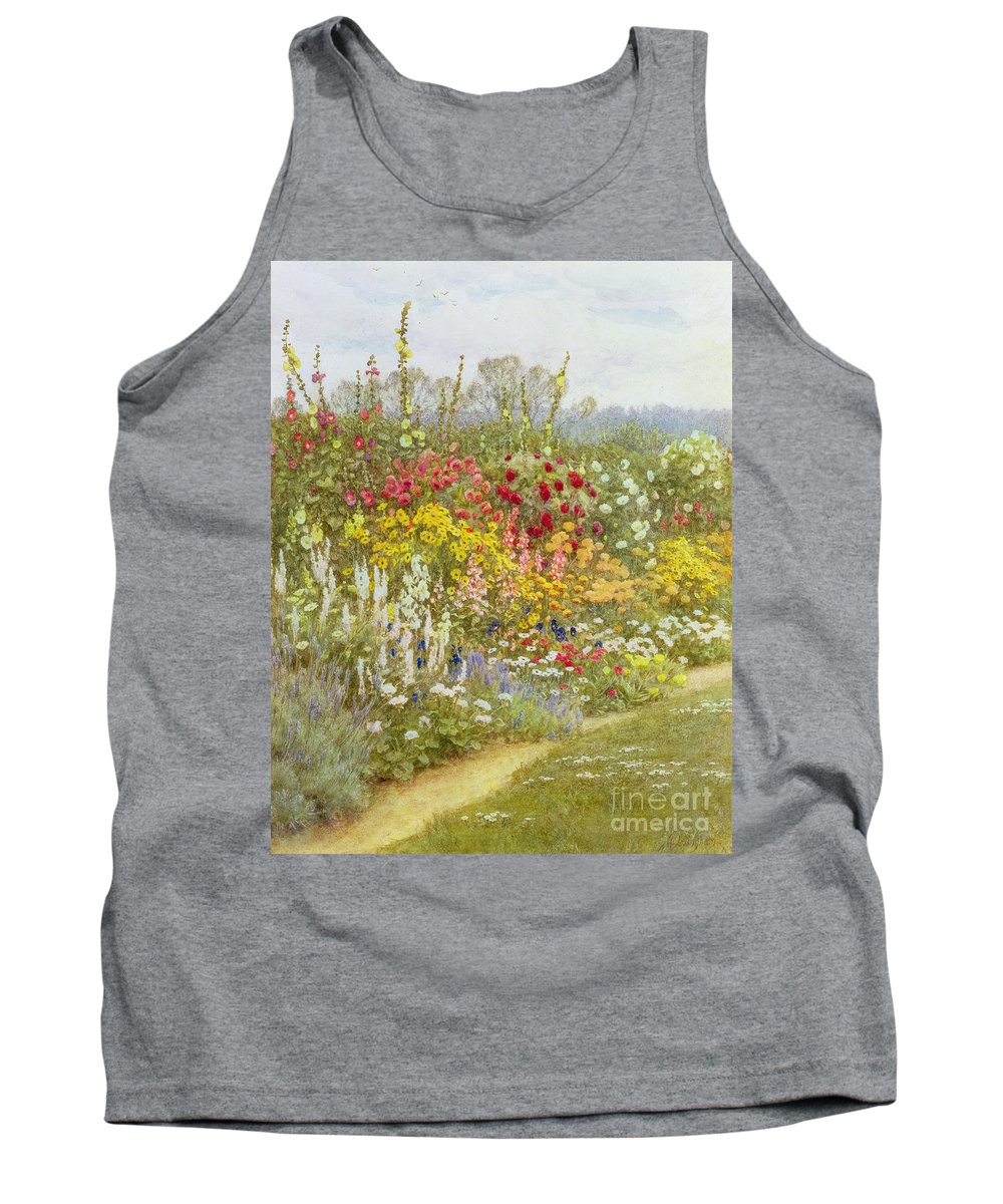 A Herbaceous Border Tank Top featuring the painting A Herbaceous Border by Helen Allingham