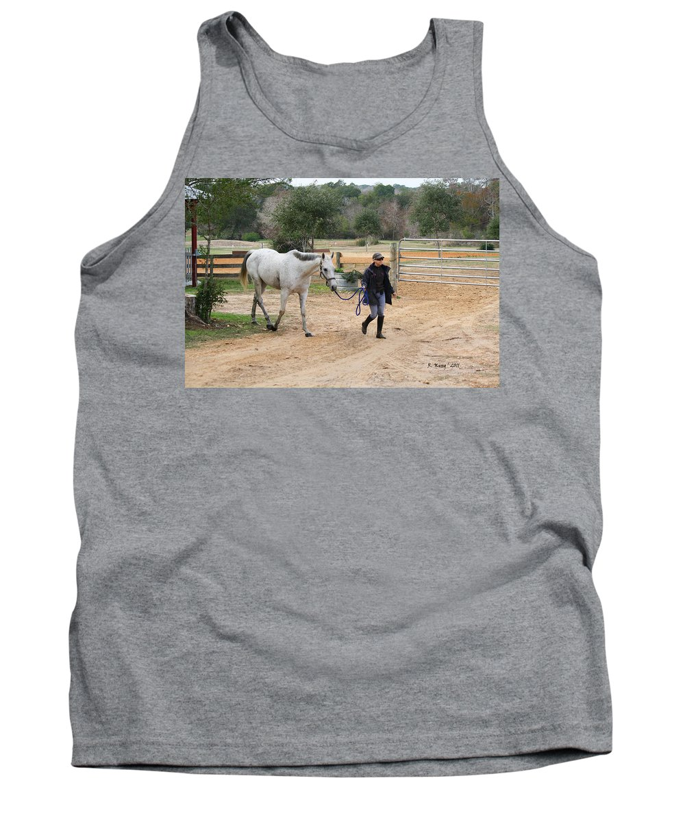 Roena King Tank Top featuring the photograph After The Day's Ride by Roena King
