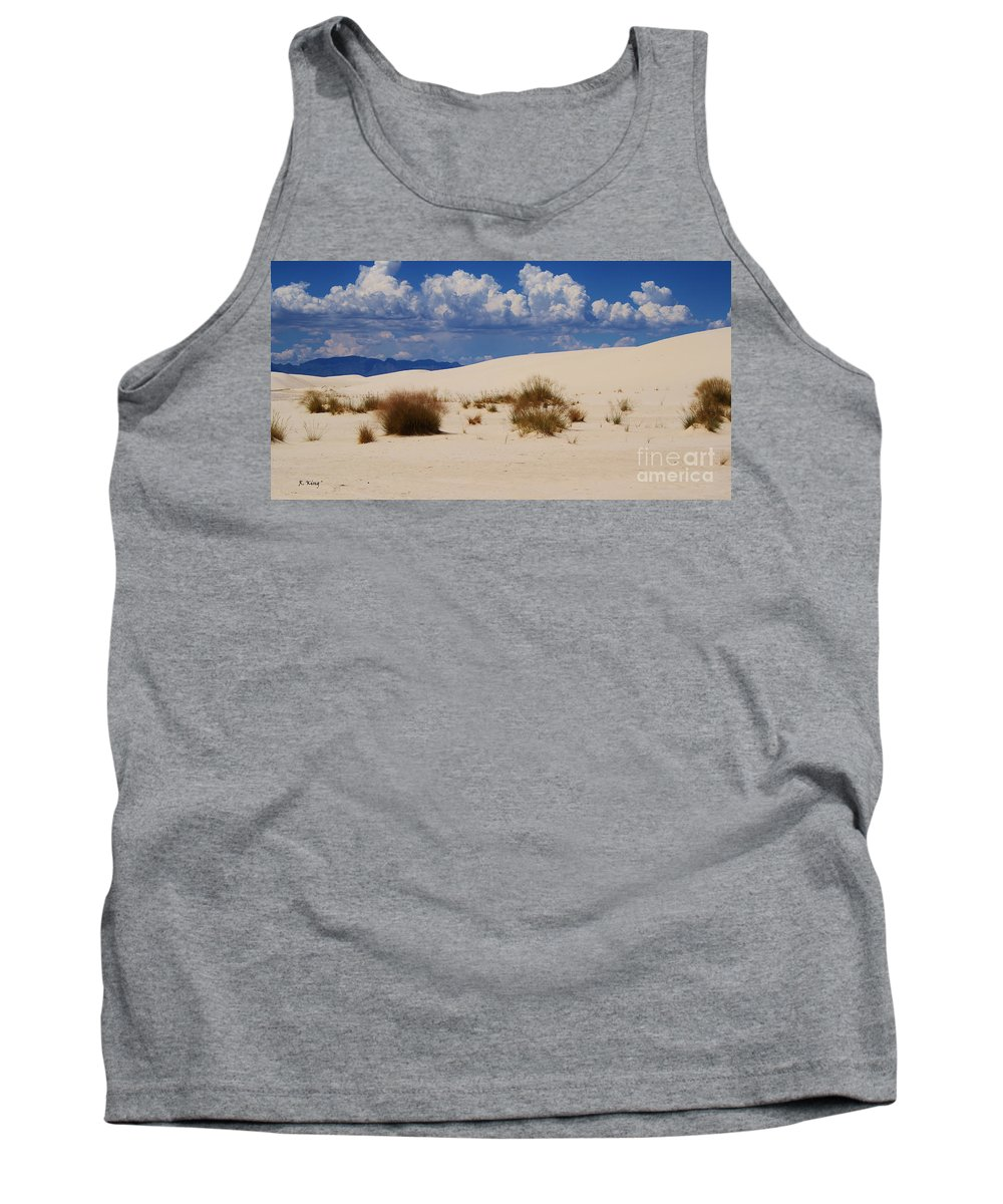 Roena King Tank Top featuring the photograph Afternoon At White Sands National Monument by Roena King